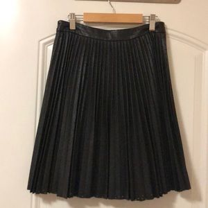 Club Monaco Vegan Leather Knife Pleated Skirt